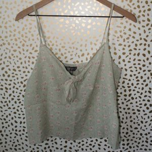 Topshop Green and Pink Floral Tie Front Tank Top